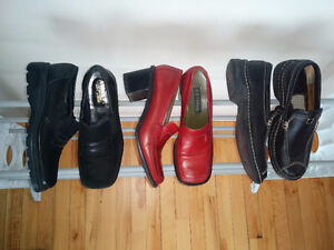 Size 6 - 7,  Various Quality Black Shoes (1 Red)