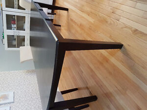 Modern Espresso Solid Wood Extending Dining Table