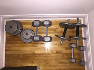 170 lb dumbbell kit barely used