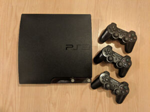 Sony PS3 + 3 wireless controllers + 9 Popular Games