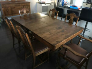 Antique Solid walnut dining room set.