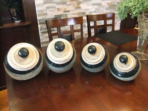 professionally handcrafted stoneware jars set of 4