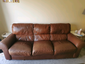 Italian leather sofa and chair