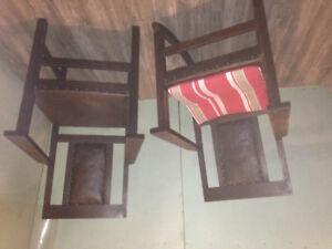 2 antique oak chairs