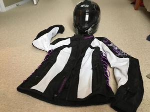 Women's jacket and helmet.