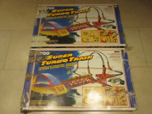 2  tyco super turbo train with daredevil jump sets  vintage