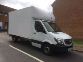 Man with box van and tail lift