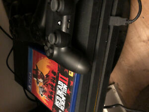 Ps4 pro 1 TB, with 2 controller , red dead 2(bought 2 month ago)
