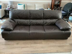 Real Leather Couch & Loveseat with Wood End Tables - Great Price