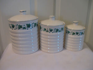 STUNNING OFF-WHITE with IVY TRIM 3-PC.KITCHEN CANNISTER SET