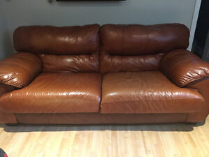 Italian leather couch and love seat