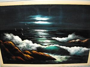 Black Velvet Painting of Surf under the moon...very well done.