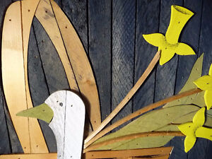 "Wooden Folk Art by Theodore Degroot ""Country Daffodils"" 1970's Stratford Kitchener Area image 3"