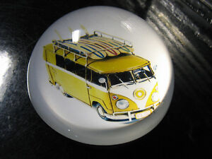NEW VW tin Bus Kombi 70`s van with surfboards paper weight