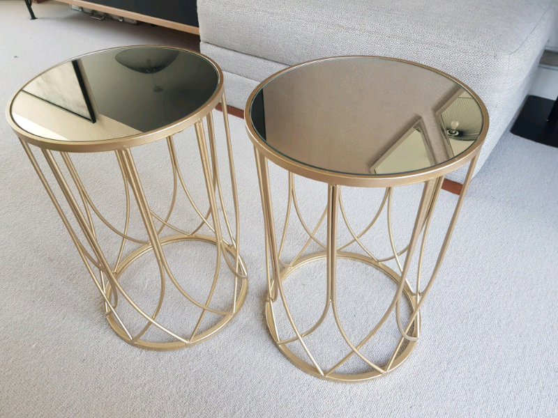 sports shoes e3cf8 61adb Gold metal side table with mirror top | in Somerset | Gumtree