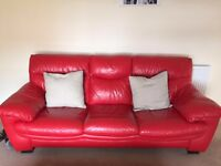 DFS 3 seater red leather sofa