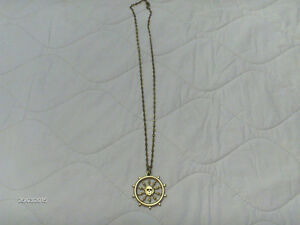 Disney Gold Chain with Pirate Ship's Wheel w Skull -Collectible