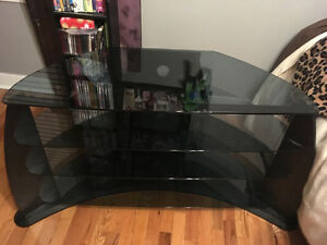 Black and glass TV/entertainment stand
