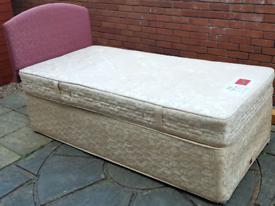 slumberland single-size sprung bed base + headboard + quality mattress