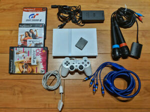 Sony PlayStation 2 PS2 Slim White bundle Singstar, Gran Turismo