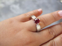 1 carat Ruby Ring, Deep Red in Color