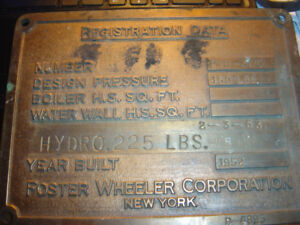 BRASS BUILDERS PLATE FROM LAKER