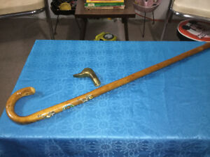 Vintage Cane Walking Stick and Brass Duck Head Handle