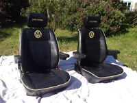 Vw T4 Transporter Leather Captains Seats + Rear Twin Seat Great Condition
