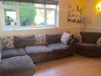 Corner Sofa Couch & Swivel Snuggle Chair