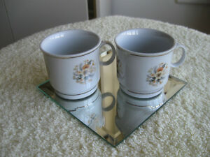 PAIR of TINY MINI-SIZED PORCELAIN SIPPING MUGS [Made in CHINA]