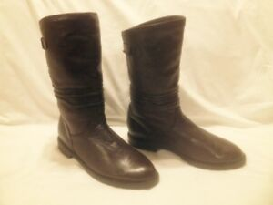 Ladies Dark Brown Leather College Mid Calf Casual boots 9.5/10M