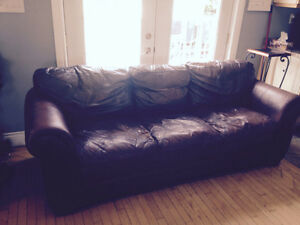 Older and fairly used leather couch FREE