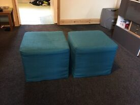2X Teal Cube pouffets from next