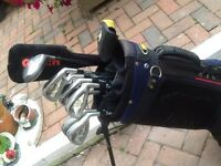 Full set of bandit steel plus power golf clubs bag and trolly