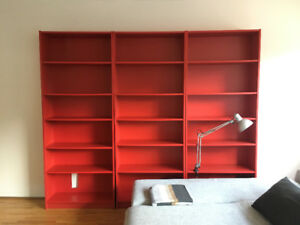 Discontinued red Billy bookshelves