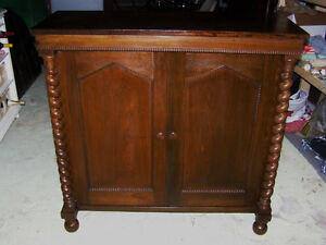 Antique Early Victorian Walnut Cupboard with Spindles & Inlays London Ontario image 1