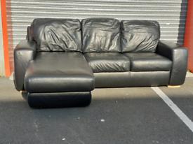 Black Leather Corner Group Sofa