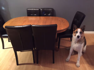 Solid Oak Table, Chairs and Corner Cabinet
