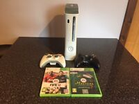XBox 360 with Two Controllers with FIFA 12 and Tiger Woods Masters Edition