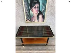 Vintage Mid Century Patterned Glass Top Wooden Coffee Table