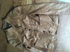 LOT: Leather jacket, leather skirt, coat and bag