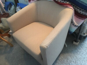 Beige and White striped chair.  Used