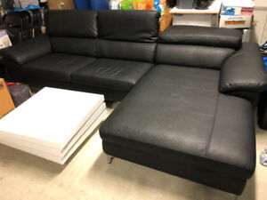 Leather sofa and 3D coffee table for sale