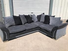 Black & grey dfs corner sofa couch suite 🚚🚚