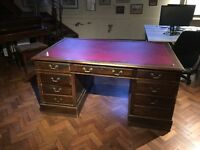 Two Antique Style Twin Pedestal Writing Desks