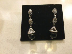 New, 925 Silver Marcasite and Onyx Earrings