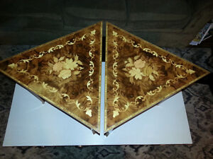 2 Vintage Inlaid Wood Musical Triangle Accent / End Tables London Ontario image 1