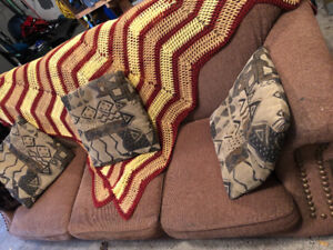 Area Rug, Couch, Chair with Cushions
