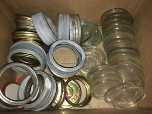 24 Vintage Glass Crown Caning Jar Lids with some Zinc