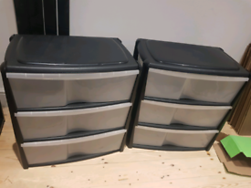 FREE x2 stackable plastic drawer sets